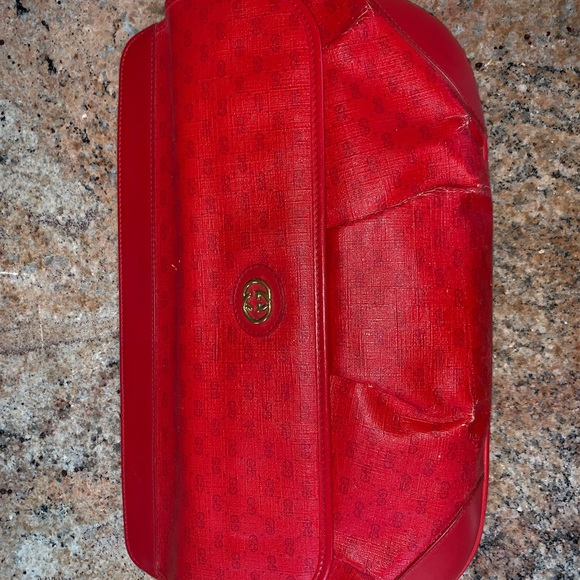 Gucci Handbags - red vintage gucci clutch